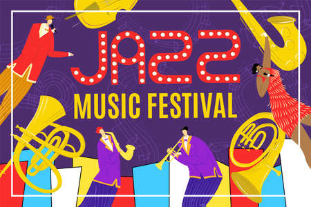 Jazz festival with saxophone instrument, jazz singer and saxophonist jazzman playing music poster, musician vector illustration. Billbord of musical show, event or acoustic concert.