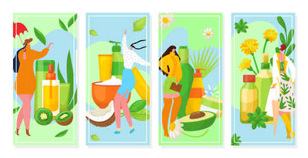 Natural organic cosmetics banners set, beauty, spa, wellness, nature products vector illustration. Cosmetical oils from fruits for body care. Natural extracts for cosmeticians skincare.