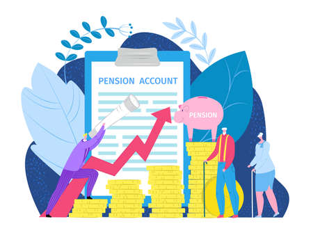 Pension retirement income investment concept, vector illustration. Retirement insurance, pension saving plan benefits. Compensation money business insurance fund, financial future planning.
