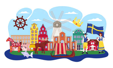 Stockholm Sweden cartoon travel vector illustration. Buildings, landmarks and tourism symbols. Gamla stan old city, scandinavian souvenirs, flag and swede people in national costumes.