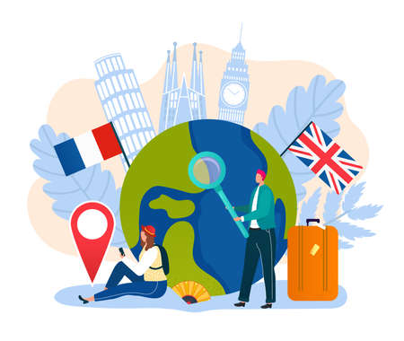 Vacation concept, travel, tourism, journey banner design with famous landmarks vector illustration. Tourists on vacation at globe map with many countries flags and symbols. Summer adventure or trip. Иллюстрация