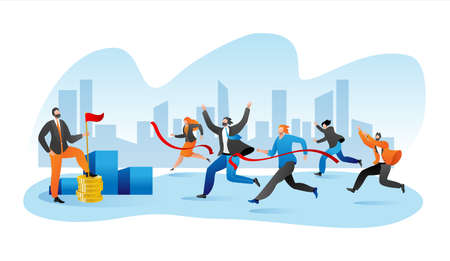 Business marathone race, businesspeople race on track flat vector illustration. Competition in team, corporate succsess. Leadership concept. Group of businesswomen and men running race. Illusztráció