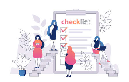 Woman with checklist on paper sheet vector illustration. Shopping list. Template for product purchase. Female checking blank with mark. Inventory check. Task or questionaire form.