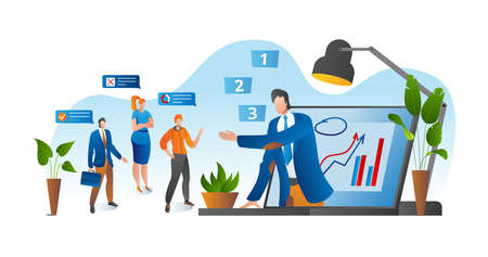 Online conference, business video meeting, task vector illustration. Businessman on computer screen taking with colleague. Videoconferencing and online meeting workspace. Conferee communication.