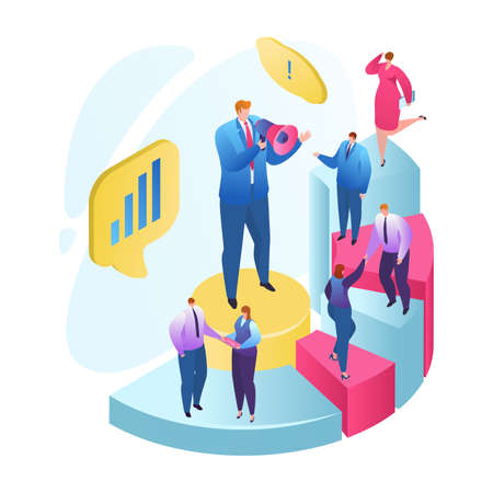 Teamwork strategy, business development goal vector illustration. Marketing vision planning in team concept. Group of businesspeople work, communicate, cooperate. Strategic management, startup. Illusztráció