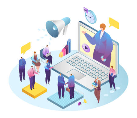 Business web conference, businessman videoconferencing with colleagues on laptop vector illustration. Teleconference internet technology, online meeting, communication. Teamwork online.