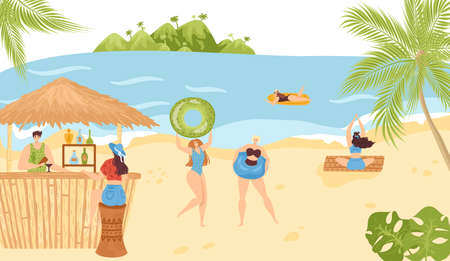 Beach activities in summer at sea vacations vector illustration. Leisure in water and on sand. People in beach bar and stall with icecream, swimming, sunbathing, doing yoga. Holiday resort. Illustration