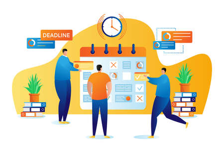 Business planning and organisation of tasks flat vector illustration. Businessman or manager with business plan schedule. Man shows strategy, projects list planner. Management presentation.
