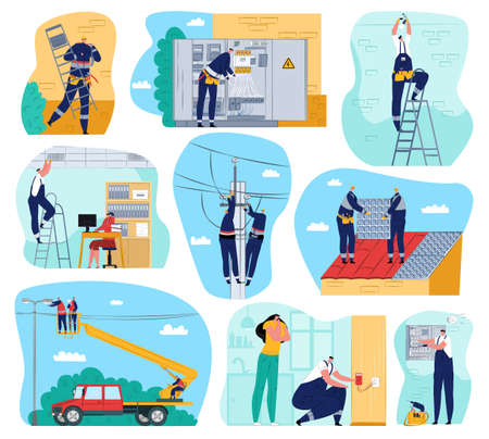 Electricity works set of vector illustrations. Electric works and equipment, electricians performing electrical works indoors and outdoors. Cables, voltage maintenance, technician service.