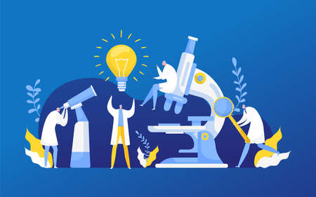 Idea discovery research in chemistry, biology or medicine vector illustration. Light bulb of new idea discovering science researching labaratory. Scientifical research lab innovation.