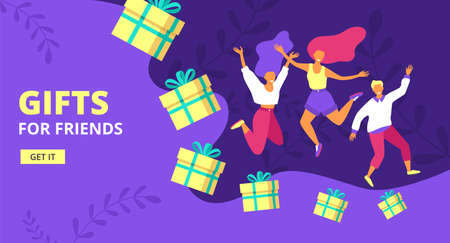 Loyalty program, refer friend flat vector illustration. Referral marketing, promotion method. Group of people or loyal customers holding hands andjumping with gift boxes, web banner.