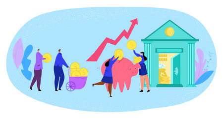 Money saving, finances, people bringing money to bank vector illustration. Happy businessman invest gold coins into piggy bank. Earnings and currency cash. Finances, income.