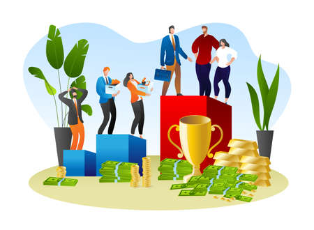 Social inequality in work career, people discrimination concept vector illustration. Corporate gender equality, business man woman at job difference.