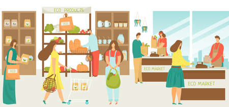 Eco market grocery with organic food and vegetable, cartoon people in store vector illustration. Flat retail sale, man woman character buy fresh product in shop, shopping with supermarket cart.