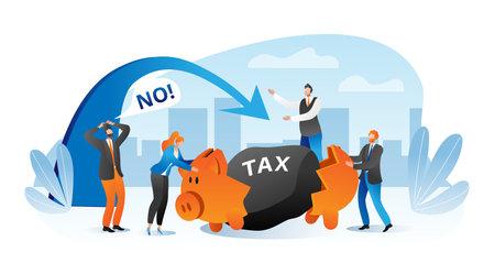 Business person with big tax finance burden concept, vector illustration. Cartoon businessman financial problem with heavy weight. Flat man woman worker crisis, broken economy, piggy bank.