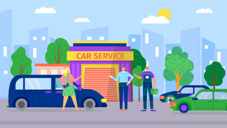 Car transport repair business, vector illustration. Vehicle city service design, automotive shop background. Man woman character near flat mechanic garage, person work with automobile.