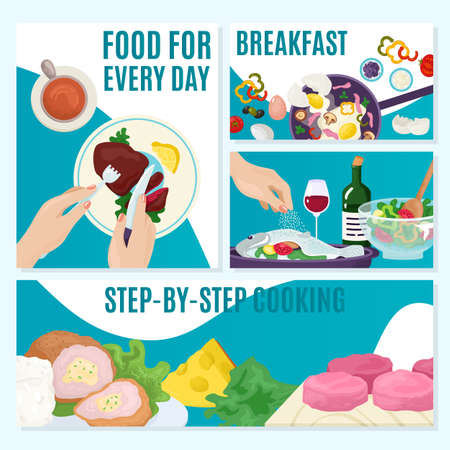 Food cooking set, healthy meal menu banner vector illustration. Dinner cuisine at kitchen design background, flat ingredient. Cook vegetable for traditional dish, tasty product at plate.