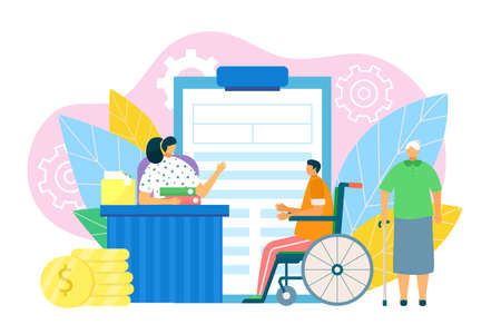 Financial benefits with document form, vector illustration. Disability people protection, pension for retirement. Man at wheelchair, old person get social money income cartoon design.