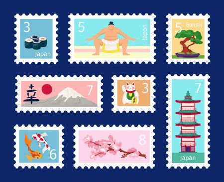 Japan stamp set, travel symbol vector illustration. Postage hieroglyph sign, tourism landmark, flower, retro culture post mail mark. Nippon postal cartoon collection for letter design.