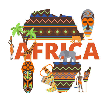 Africa continent map, african travel design background concept, vector illustration. Safari culture banner, outline with desert, animal and tree. Traditional south poster, sahara wildlife.  イラスト・ベクター素材