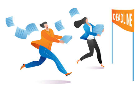 Freelancer worker male and female character running to deadline, complete work last date cartoon vector illustration, isolated on white. Concept non executive employee, delivery working material.