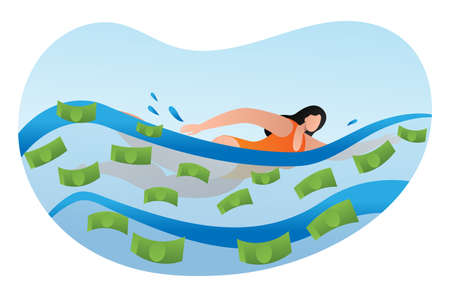Woman physical activity swimming pool with cash dollar funds, female rich person cartoon vector illustration, isolated on white. Concept hobby wealthy character girl, waste finance means.