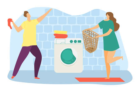 Lovely modern family cheerful weekend cleaning day, laundry room with washing machine flat vector illustration, isolated on white. Male, female character hold towel and basket, washable clothes.