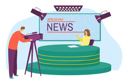 Breaking news channel studio, character anchorwoman cast latest headlines, operator work camera flat vector illustration, isolated on white. Television studio place workplace evening information show.