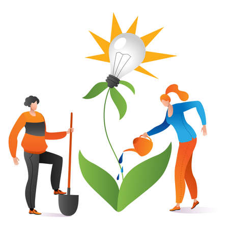Teamwork people together use watering can business creative idea, grown green plant lamp thought cartoon vector illustration, isolated on white. Concept brilliant brainstorming, company solution.