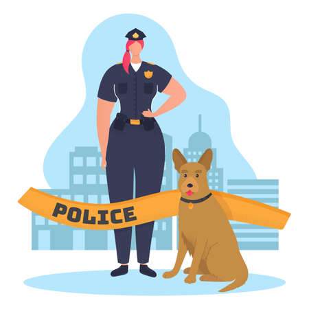 Woman character policeman hold service dog and protect order, law enforcement cartoon vector illustration, isolated on white. Professional police officer, urban city militia employee.