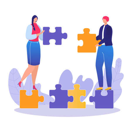Office worker character hold puzzle detail, teamwork office male and female together labour flat vector illustration, isolated on white. Company colleague, group employee clerk harmonious work.