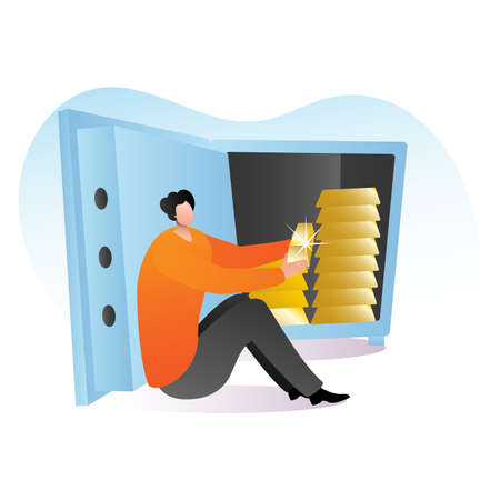 Rich male character sitting safe deposit with gold bar, wealthy person precious metal cartoon vector illustration, isolated on white. Concept armoured secure vault, man hold noble bullion.