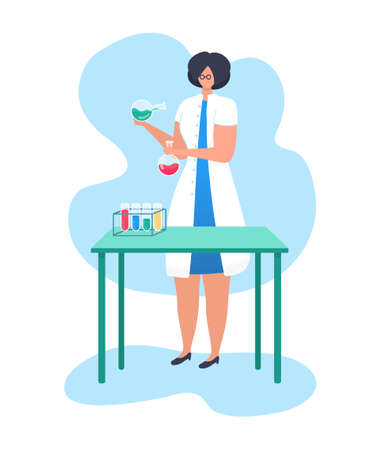 Woman character research fellow hold laboratory flask, chemical liquid research activity flat vector illustration, isolated on white. Female professional scientific worker, academic doctor.