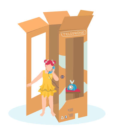 Little cute girl play telephone booth, cardboard call box, female cheerful character cartoon vector illustration, isolated on white. Creative imagine idea, plaything children fantasy payphone.