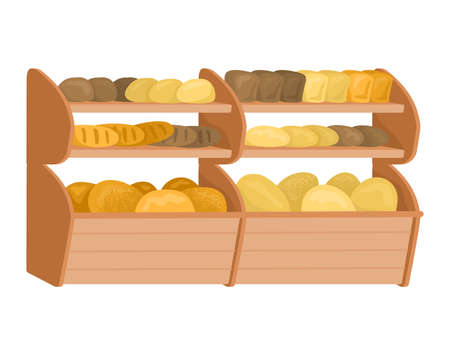 Market bread shop shelf, fresh homemade loaf, bakery food shop flat vector illustration, isolated on white. Concept bread product, foodstuff flour item, meal showcase flour confectionery.