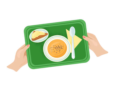 Woman hand hold tray with foodstuff plate kitchen utensils, light breakfast foodstuff flat vector illustration, isolated on white. Concept dinner food dish, canteen edible soup meal.