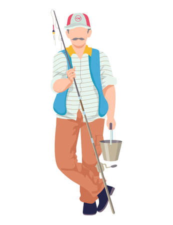 Male fishing hobby, character hold rod, man wear special fisherman costume cartoon vector illustration, isolated on white. Concept favorite pastime, fisher in hat with moustache spend time.