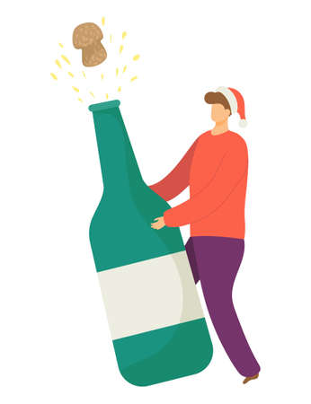 Happy tiny character hold christmas champagne bottle, male xmas mood with sparkling wine cartoon vector illustration, isolated on white. Concept holiday man celebrate new year weekend.