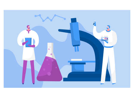 Futuristic scientific research employee people character scientific worker hold medical flask blood test flat vector illustration, isolated on white. Concept academic microscope, tiny human analysis.