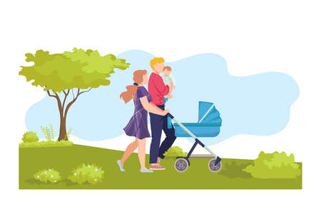 Young modern family walk baby carriage, ecology natural outdoor stroll, character hold newborn flat vector illustration, isolated on white. People male female together hike, clean environment.