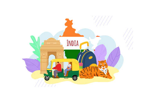 Indian style travel excursion concept banner hindu oriental trip, asian tuk tuk with driver character flat vector illustration, isolated on white. Map with animal tiger, background hinduism vacation.