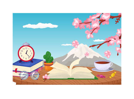 Cozy place fujiyama landscape, reading table place with book stack, japanese tea and sakura tree flat vector illustration, isolated on white. Postcard fuji mountain background, gift banner card.