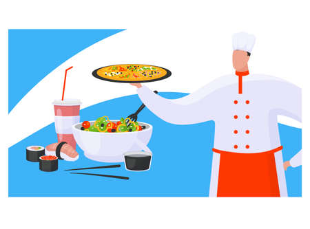 Chef hold pizza, concept oriental and italian foodstuff, cookery expert prepare greek salad, sushi flat vector illustration, isolated on white. Variety world cuisine, fast food international menu.