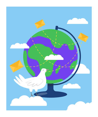 Concept global delivery post service, carrier pigeon sitting near globe, mail operation flat vector illustration, isolated on white. World postal letter supply banner, greeting card poster.