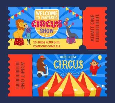 Entertainment show circus ticket to tent design, vector illustration. Carnival performance banner set, retro amusement theater.