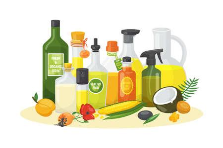 Vegetable oil bottle for organic food, virgin olive oil glass at kitchen, vector illustration. Healthy cooking for natural diet