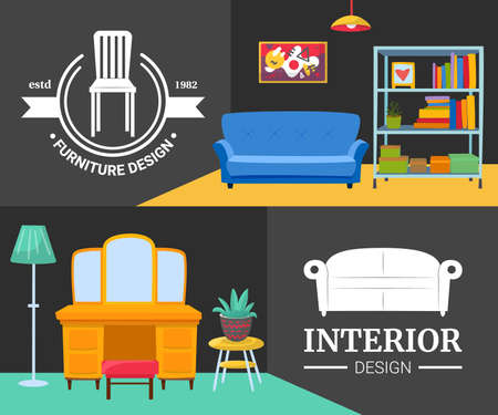Interior design with modern furniture, shop set, vector illustration. Advertising banner with home background, house decoration.