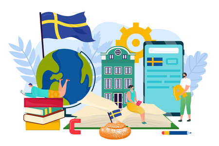 Swedish language concept design, vector illustration. Sweden graphic symbol banner, language education for flat business in foreign country.