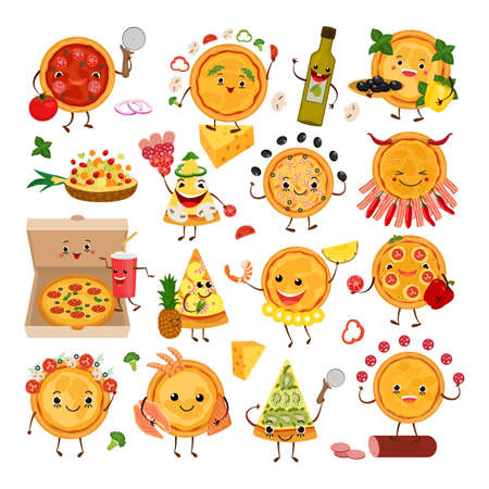 Pizza characters funny elements for pizzeria set, vector illustration. Delicious dinner with tasty pepperoni snack in box.