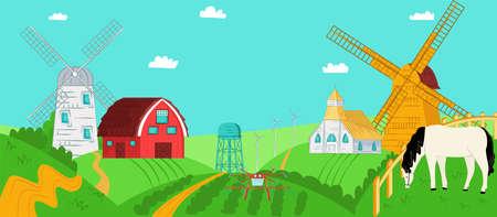 Summer farm landscape, agriculture field nature, vector illustration. Countryside background, farming house at cartoon village. Illustration
